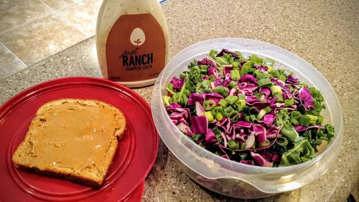 Lunch #1: Salad and bread with peanut butter