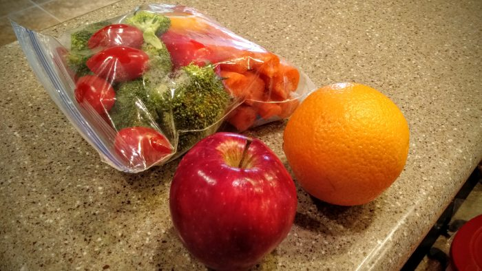 Lunch #2: Raw veggies and fruit
