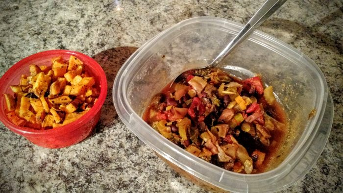 Supper: Roasted sweet potatoes and vegetable soup