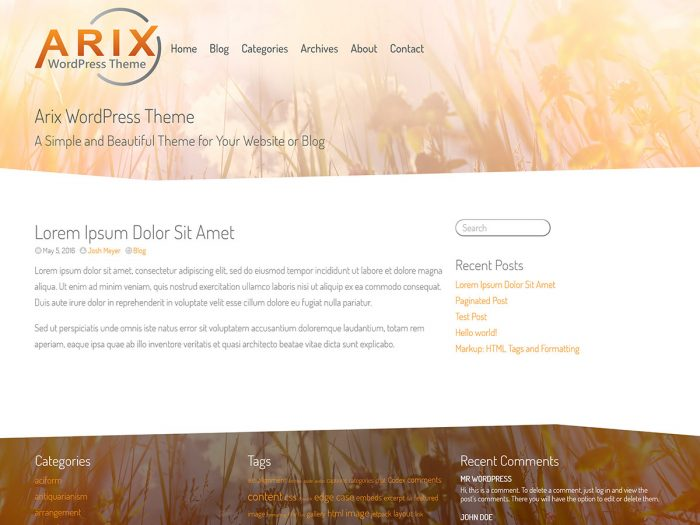 Arix Theme Screenshot