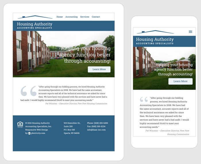 Housing Authority Accounting Specialists - Responsive Layout