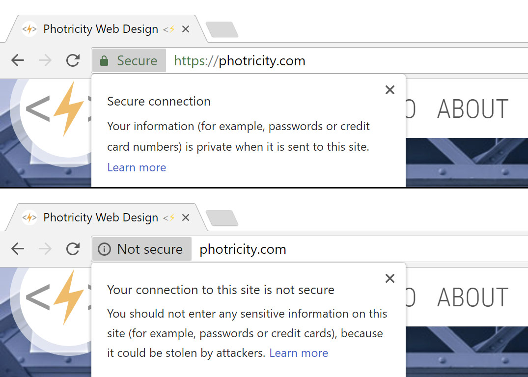 Google Chrome security messages