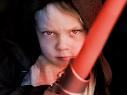 kid with lightsaber