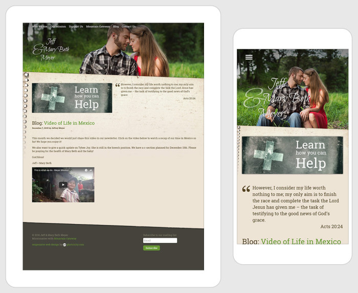 Web Design for Meyer Mission