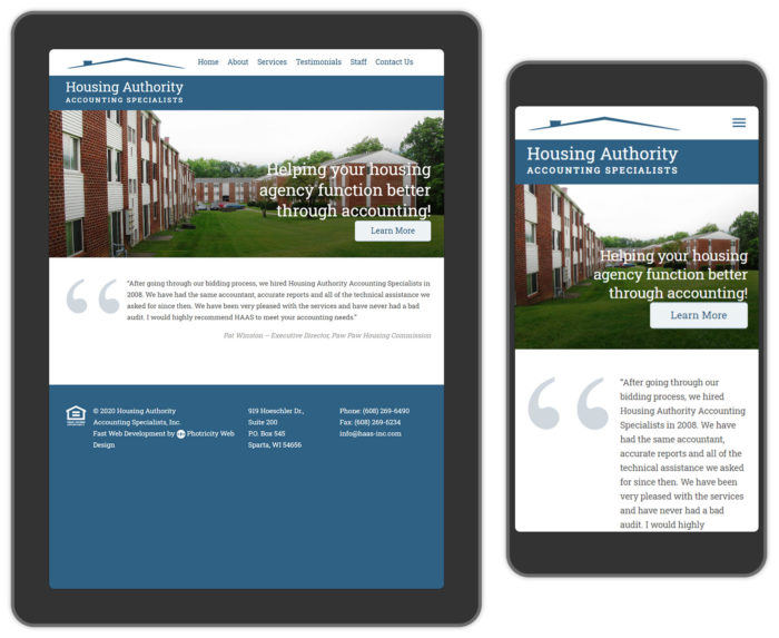 Housing services website design