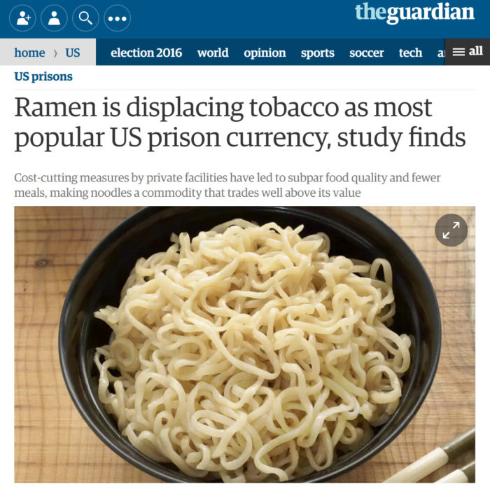 The Guardian: Ramen is displacing tobacco as most popular US prison currency, study finds