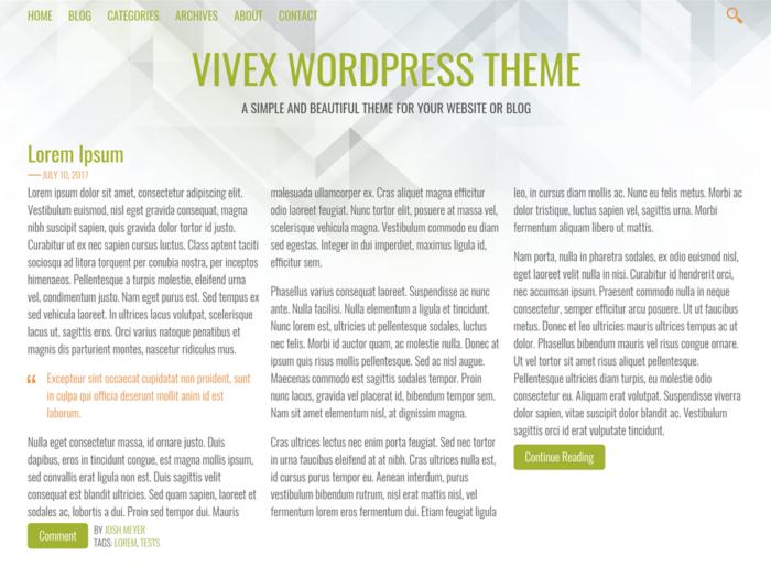 Vivex Theme Screenshot